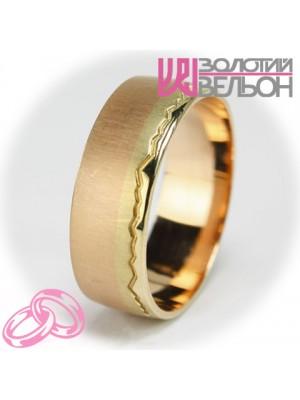 """Комбинированное обручальное кольцо """"Пылающий свет"""" сатин ♂"""