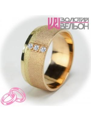 Комбинированное дизайнерское обручальное кольцо с бриллиантом ♀