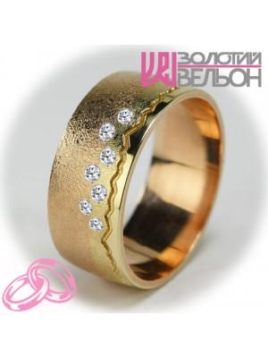 """Комбинированное обручальное кольцо """"Пылающий свет"""" сатин ♀"""