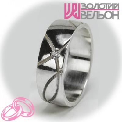 Женское обручальное кольцо с бриллиантом 551-2F001 ♀
