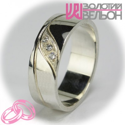 Кольцо с бриллиантом обручальное женское 551-2F003 ♀
