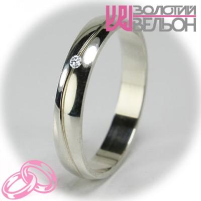 Женское обручальное кольцо с бриллиантом 551-2F014 ♀