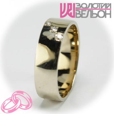 Женское обручальное кольцо с бриллиантом 551-2Z001 ♀