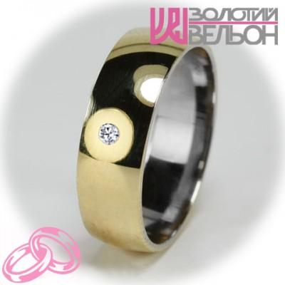 Женское обручальное кольцо с бриллиантом 751-2V014