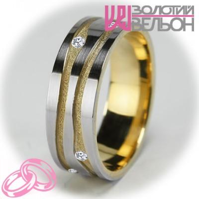 Женское обручальное кольцо с бриллиантом 951-2V001