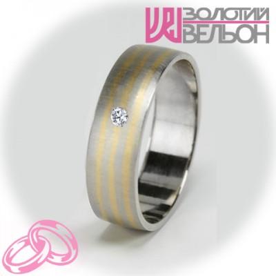 Женское обручальное кольцо с бриллиантом 951-2V030