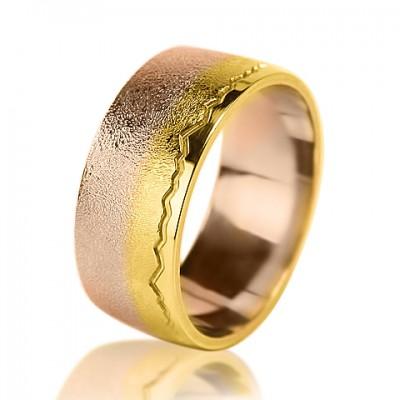 """Комбинированное обручальное кольцо """"Пылающий свет"""""""