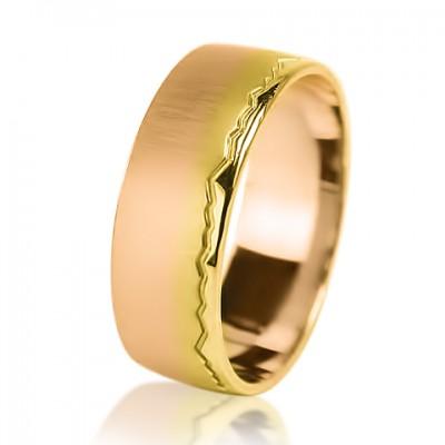 """Комбинированное обручальное кольцо """"Пылающий свет"""" сатин"""