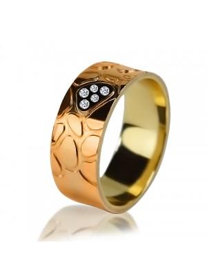Комбинированное обручальное кольцо с бриллиантом 151-2V016