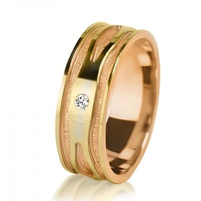 Женское обручальное кольцо с бриллиантом 251-2V013