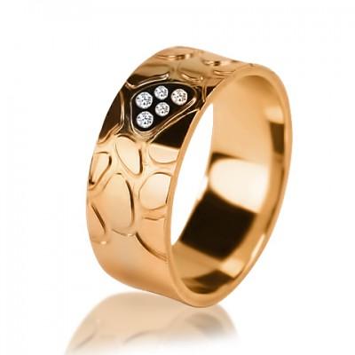 Комбинированное обручальное кольцо с бриллиантом 551-2V016