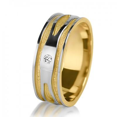 Женское обручальное кольцо с бриллиантом 651-2V013