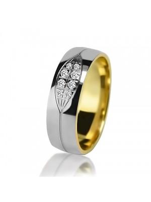 Женское обручальное кольцо с бриллиантом 651-2V032