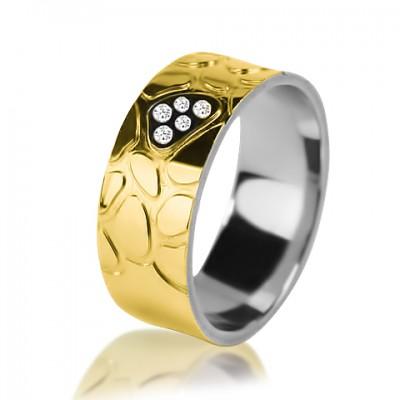 Комбинированное обручальное кольцо с бриллиантом 751-2V016