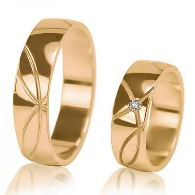 Кольца обручальные из белого золота F001