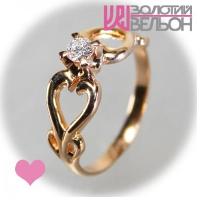Помолвочное золотое кольцо с бриллиантом 451-10022