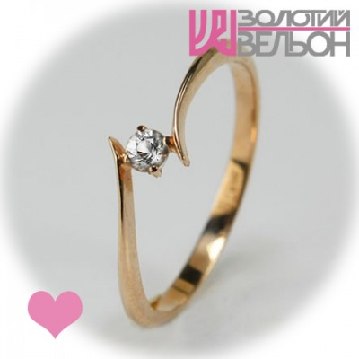 Помолвочное золотое кольцо с сапфиром 452-10272