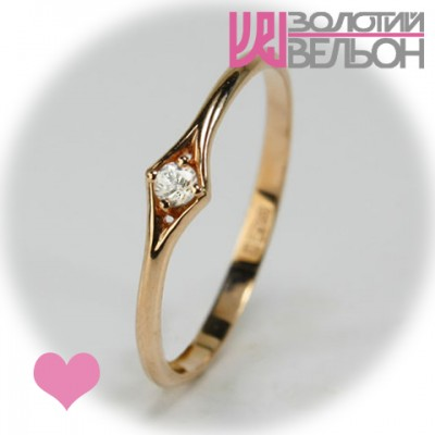 Помолвочное золотое кольцо с сапфиром 452-10273